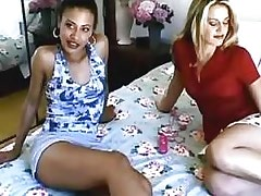 Lezzie enjoys two toys.Interracial Lesbian Sex!