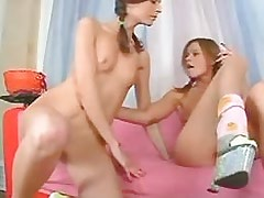 Young Sexy Girl Girlfriends play w dildo n vibrator.Young sexy lesbian!