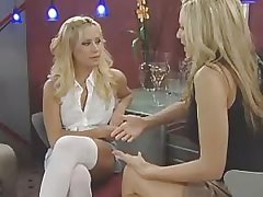 Two lesbians have foreplay on sofa.Lesbian milf sex!