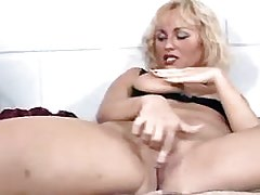 Sexy blond lezzie satisfies herself.Lesbian milf sex!