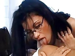 Lezzie threesome on desk.Hot Latina Lesbian.Slip nipple!
