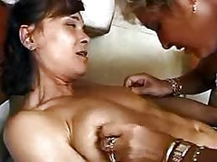 Sexy lezzies do some dirty licking.Lesbian mature sex.Slip nipple!