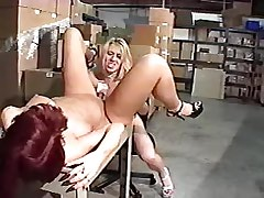 Mature lesbians have fun with dildo on warehouse.Lesbian Toys sex!