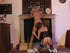 Two sexual lesbians in stockings share one dildo!