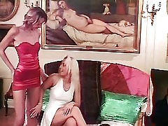 Young Sexy Girl Two blonde lesbians licking on sofa.Young sexy lesbian!