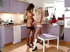 Mature lesbian spoils innocent babe on kitchen.Busty Girls!