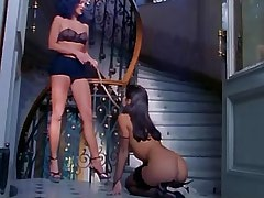 Babe in harness licks mistress cunt.Hot Latina Lesbian!