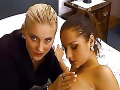 Hot Latina Lesbian Cute lesbians play w pussies on bed.Slip nipple.Hot Latina..