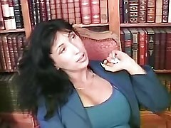 Lesbians play with dildo in library.Lesbian milf sex!