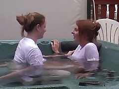 Beautiful lesbians have fun in pool.Young sexy lesbian!