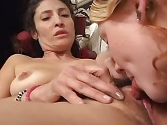 Lesbo chick and mature share dildo.Lesbian Pussy!