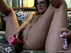 Attractive lesbian mommy babes make love.Hot milf sex!