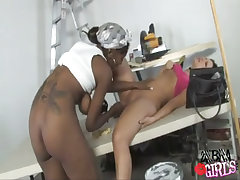 Cute interracial lesbians enjoy forbidden games