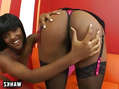 Sexy black lesbians in strap on sex