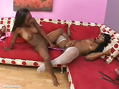 Black fit sluts with double ended dildo