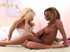 Lesbian Double Dildo Breath taking sex of two lezzies