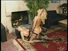 Blond and brunette grind their pussies