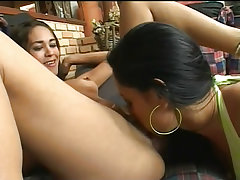 Latinas fucking each other with footwear