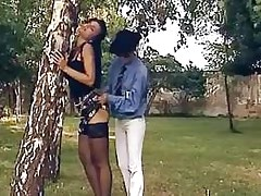 Seductive outdoor pussy licking.Lesbian milf sex!