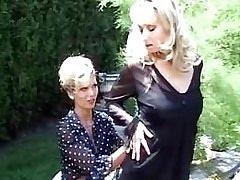 Lezzie foreplay in garden.Lesbian milf sex!