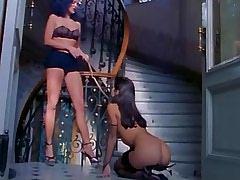 Babe in harness licks mistress cunt.Hot Latina Lesbian!