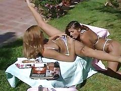Lusty lesbian licks n dildos cute babe by pool.Lesbian licking.Sweet small titties!
