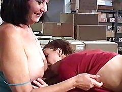 .Lesbian Mature ang Girl.Slip nipple!