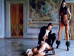 Lesbian mistresses spoil poor cute maid on floor.Threesome lesbian porn.Fetish Lesbian Stories!