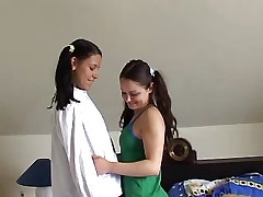 Teen lezzies have fun after classes.Young sexy lesbian.Sweet small titties!