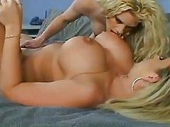 Horny blonde lesbian licks her busty girlfriend.Lesbian milf sex.Slip nipple!