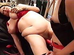 Hot redhead girl drilling lustful lesbo granny.BBW Girl.Lesbian Strapon Sex!
