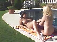 Beautiful lesbians relax by pool.BBW Girl.Hot Latina Lesbian!