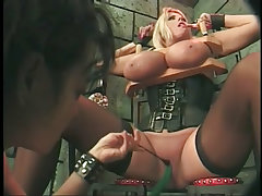 Busty blond punished for her big boobs